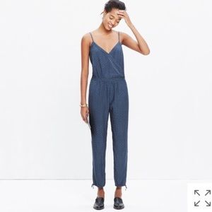 Madewell Printed Faux Wrap Cami Jumpsuit.